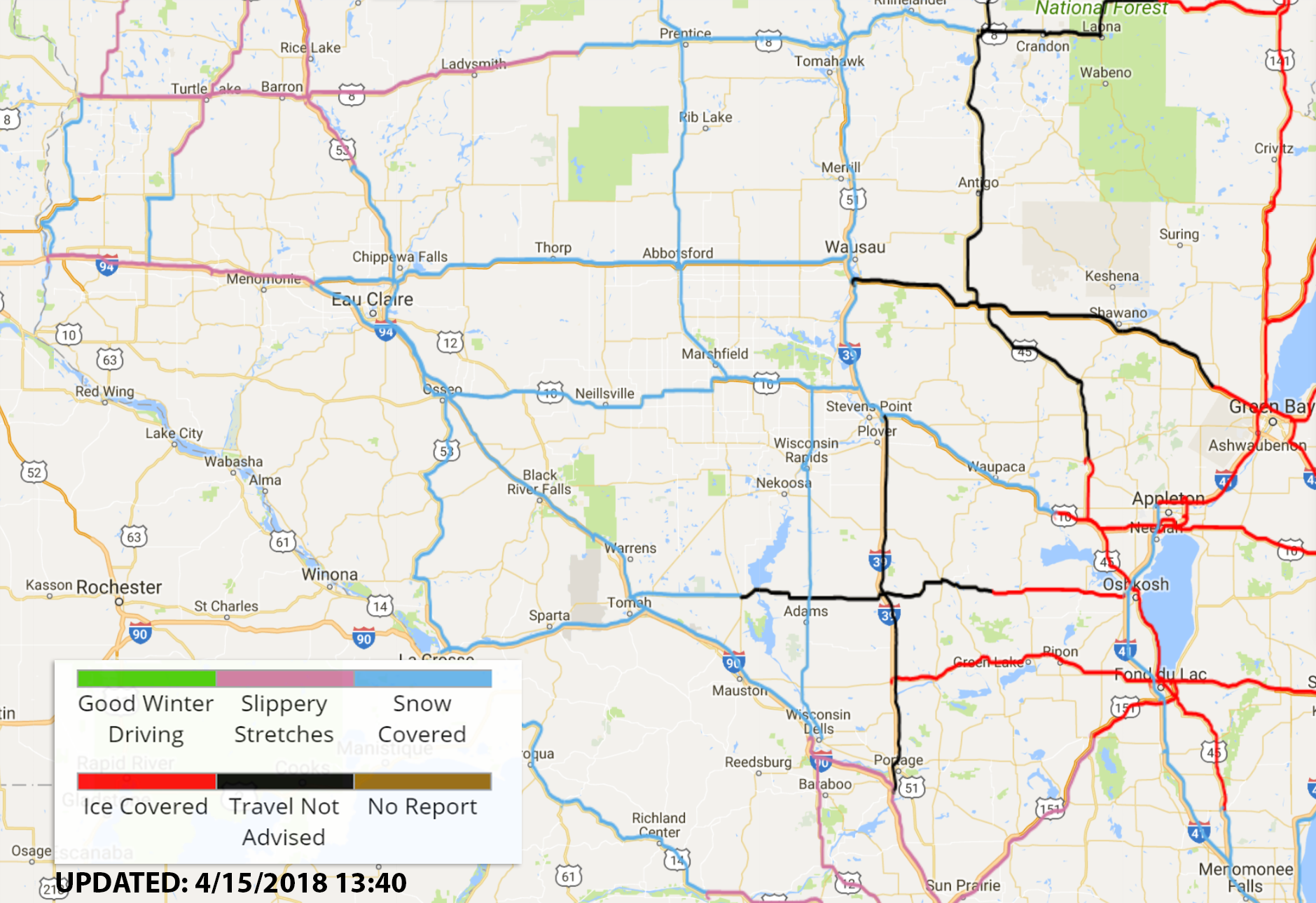 WI Road Conditions 4-15-2018 | OnFocus Wi Winter Road Conditions Map on